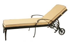 Lattice Outdoor Patio Pool Chaise Lounges With Wheels And Cushion