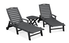 Nautical 3-piece Outdoor Chaise Lounge Sets with Wheels and Table