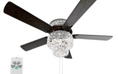 Tibuh Punched Metal Crystal 5 Blade Ceiling Fans with Remote