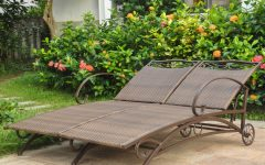 Resin Wicker Multi-position Double Patio Chaise Lounges