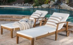 Outdoor Acacia Wood Chaise Lounges and Cushion Sets