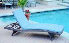 Wicker Adjustable Chaise Loungers with Cushion
