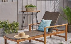 Outdoor Rustic Acacia Wood Chaise Lounges with Wicker Seat